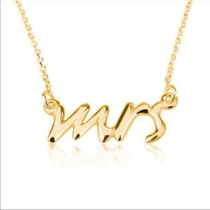 Jewelry - Mrs wedding chain necklace dipped gold- perfect